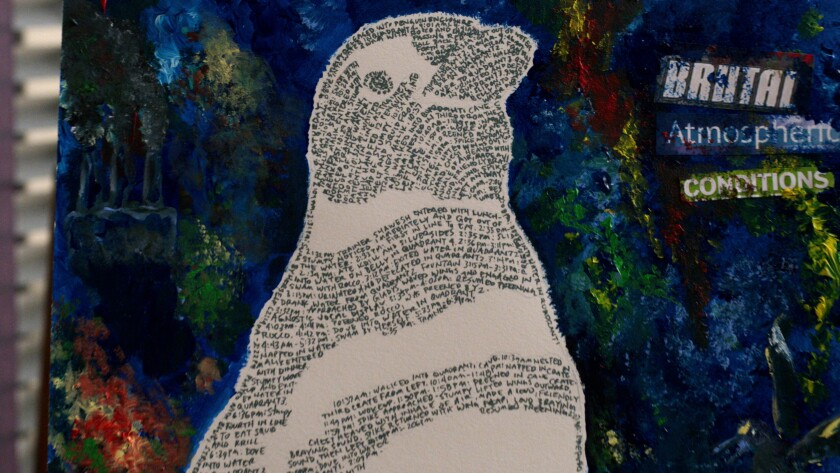 "A close-up of the ""essence of a penguin"" art from Season 3 of ""Atypical,"" with words standing in for the birds' black feathers."