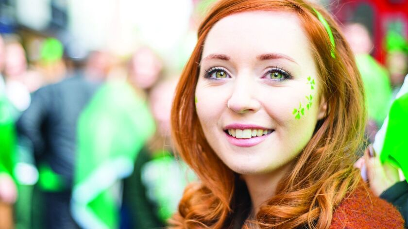 Beautiful Irish girl on St. Patricks Day, Dublin, Ireland.