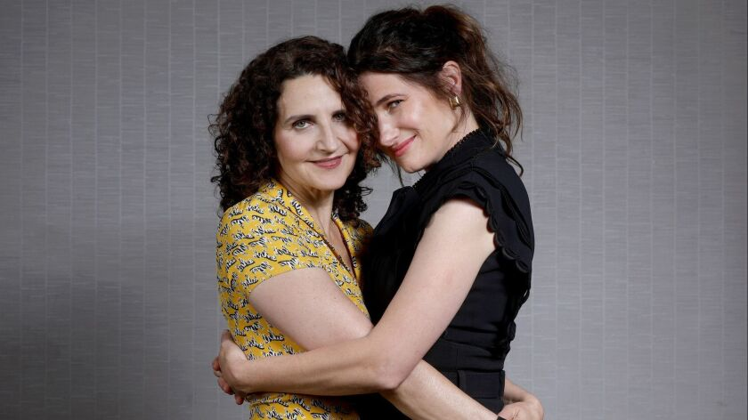 """Writer-director Tamara Jenkins, left, and actress Kathryn Hahn at the Four Seasons Hotel in Los Angeles, Calif.. Together for the somewhat autobiographical movie """"Private Life,"""" about one couple's struggle with infertility."""