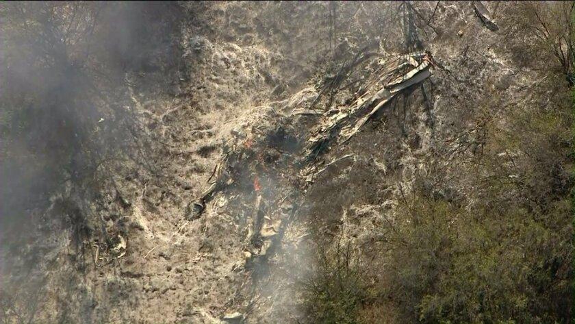 Wreckage of a plane crash in the Santa Monica Mountains.
