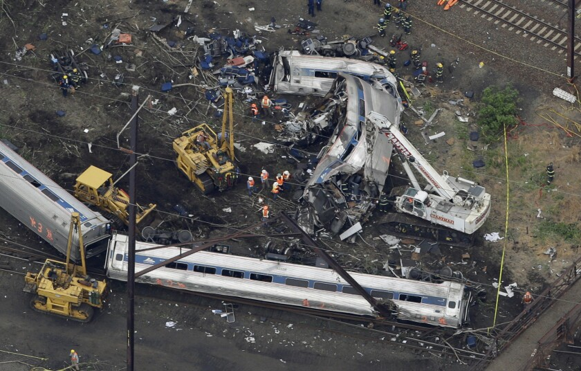 A deadly train wreck in Philadelphia last month. Federal safety regulators and Amtrak officials faced questions at a congressional hearing Tuesday.