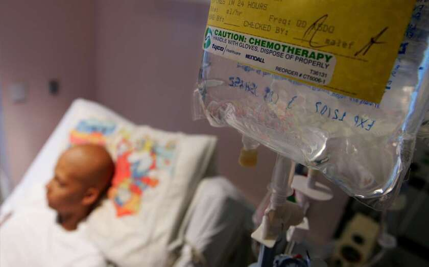 A cancer patient undergoes chemotherapy treatment in San Francisco.
