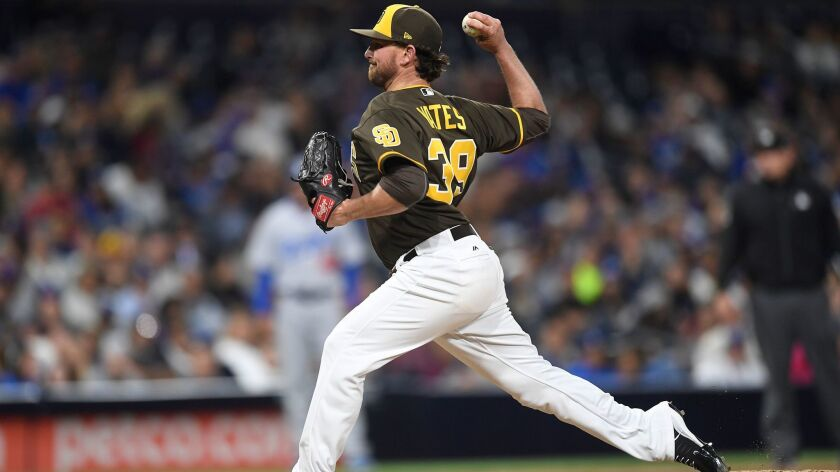 SAN DIEGO, CA - MAY 5: Kirby Yates #39 of the San Diego Padres pitches during the game against the L