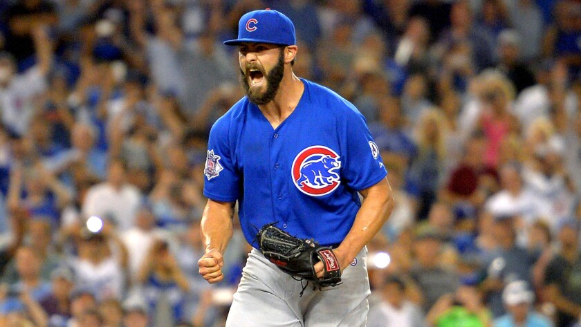 Cubs ace Jake Arrieta reacts after throwing his first no-hitter against the Dodgers on Aug. 30.
