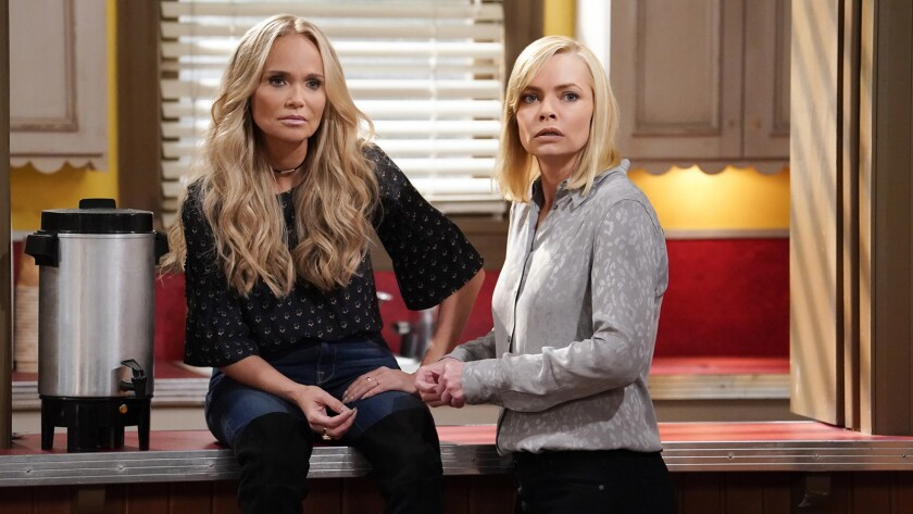 """""""Glee's"""" Kristen Chenoweth, left, guests stars on a new episode of """"Mom"""" on CBS. With Jaime Pressly."""