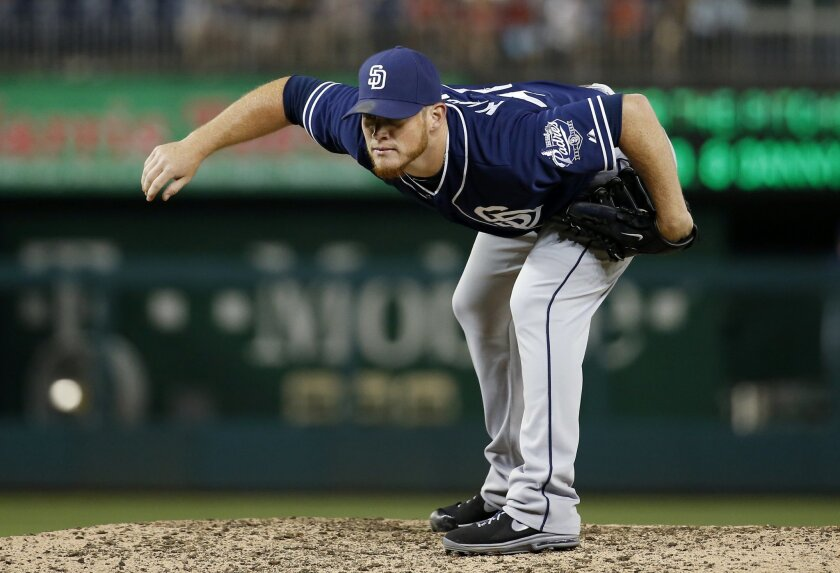 511d718d7 San Diego Padres relief pitcher Craig Kimbrel prepares to throw during the  ninth inning of a