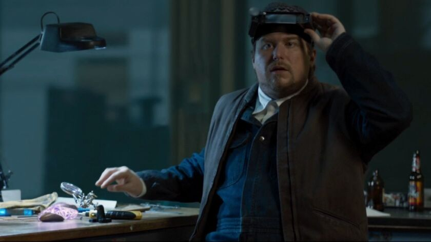 """Michael Chernus as """"The Tinkerer"""" in """"Spider-Man: Homecoming."""""""