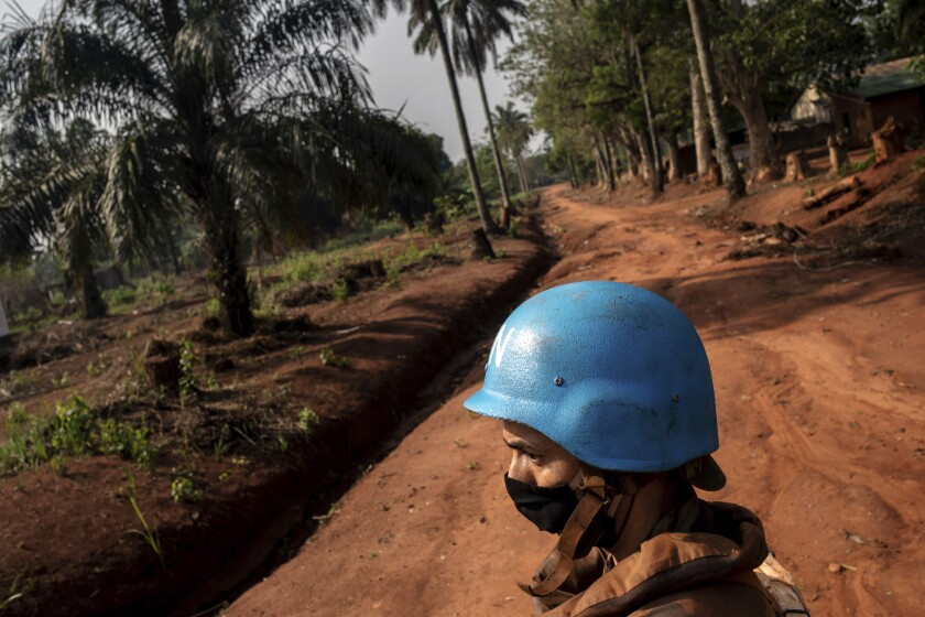 Moroccan UN peacekeepers patrol Bangassou, Central African Republic, Sunday Feb. 14, 2021. An estimated 240,000 people have been displaced in the country since mid-December, according to U.N. relief workers, when rebels calling themselves the Coalition of Patriots for Change launched attacks, causing a humanitarian crisis in the already unstable nation. (AP Photo/Adrienne Surprenant)