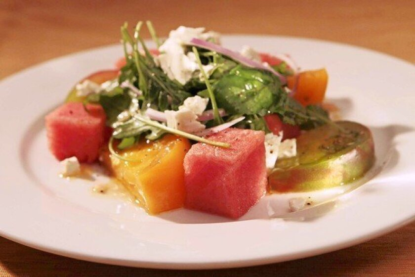 Dinner tonight! The Hungry Cat's tomato and watermelon salad