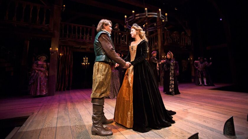 """Paul David Story and Carmela Corbett play Will Shakespeare and Viola in South Coast Repertory's production of """"Shakespeare in Love."""""""
