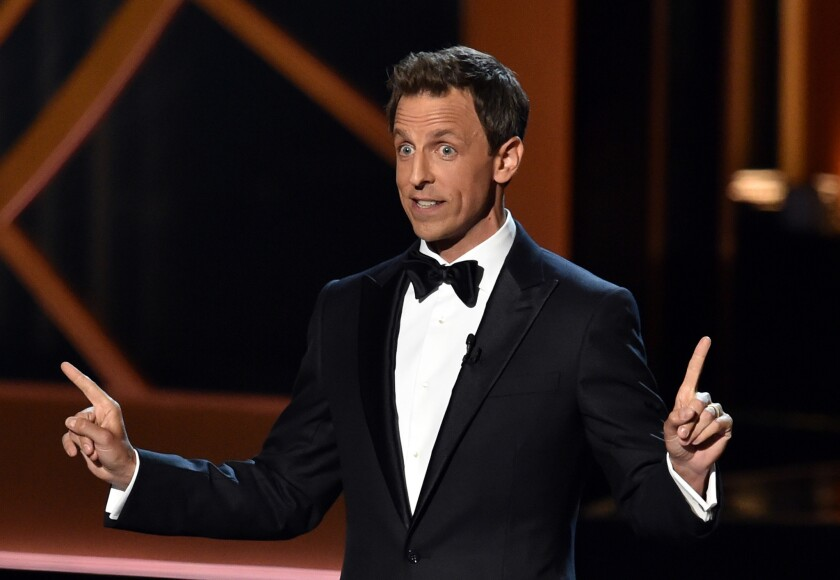 Seth Meyers speaks to the audience at the Emmy Awards ceremony at the Nokia Theatre on Aug. 25.
