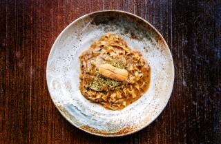 LAS VEGAS, CA - JUNE 24: Uni pasta dish from Robata En on Thursday, June 24, 2021 in Las Vegas, CA. (Mariah Tauger / Los Angeles Times)