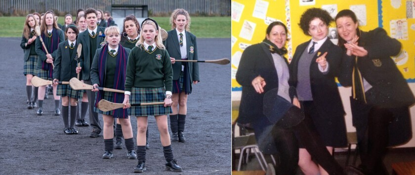 """Left: the cast of """"Derry Girls""""; right: """"Derry Girls"""" creator Lisa McGee with two friends in high school in Northern Ireland"""