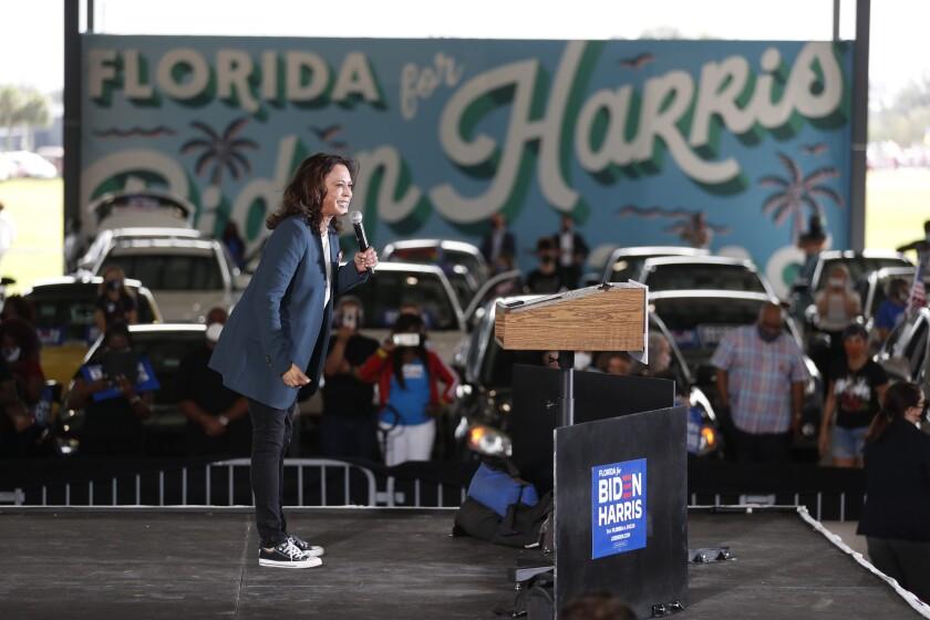 Sen. Kamala Harris speaks at the Central Florida Fairgrounds on Oct. 19 in Orlando.