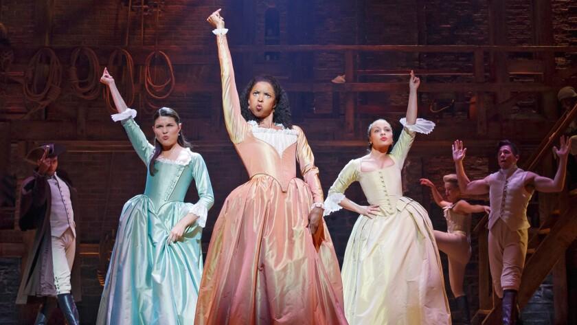 "Phillipa Soo, left, Renée Elise Goldsberry and Jasmine Cephas Jones in ""Hamilton."""
