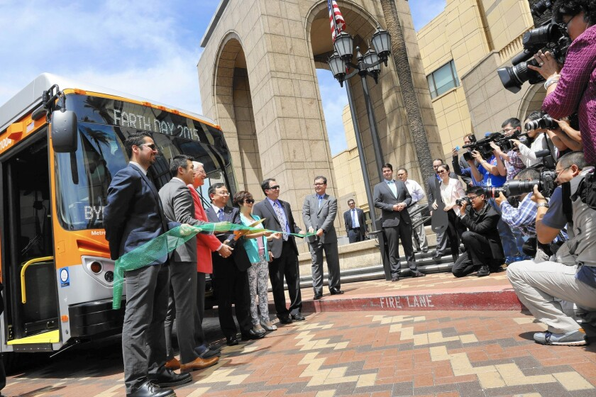 A ceremony marks the arrival of five electric buses for Los Angeles County.