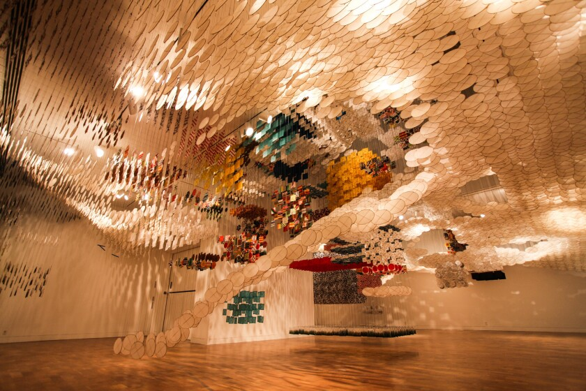 "Jacob Hashimoto ""Gas Giant"" installation view"