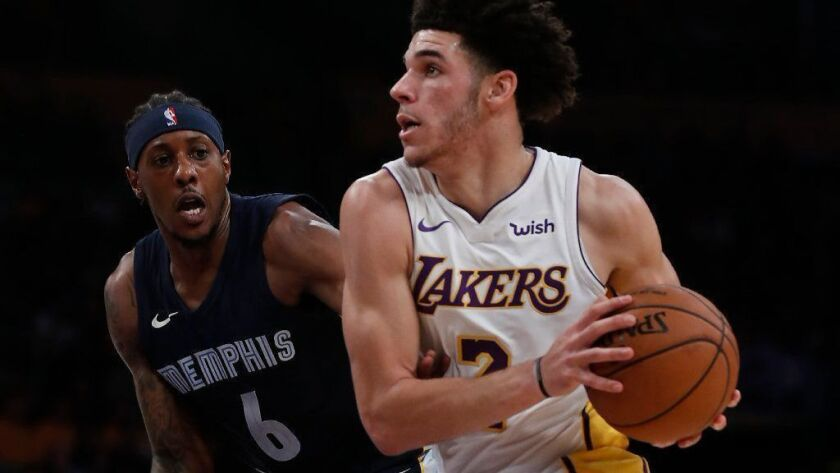 Lakers guard Lonzo Ball drives to the basket against Grizzlies guard Mario Chalmers in the first quarter of a game last season.