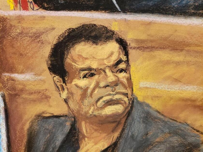 A view of a photographic reproduction of a drawing by Jane Rosenberg that shows Mexican drug lord Joaquin 'El Chapo' Guzman during a session of his trial at the Brooklyn South District court, in New York, United States. EFE