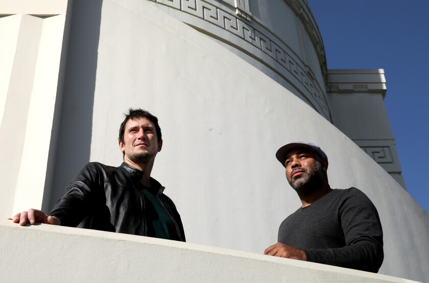 """""""The Great Grass Race"""" creator Denis Oliver and director Cosmos Kiindarius at Griffith Observatory."""