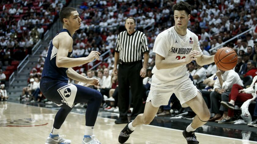 SDSU guard Jordan Schakel (20) looks to move around BYU guard Rylan Bergersen (1) in the second half of a game last month at Viejas Arena.