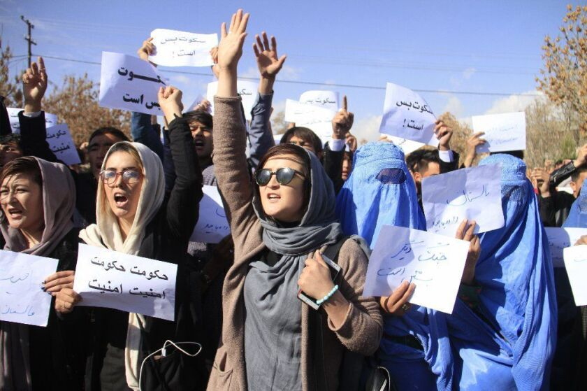Protesters from the Hazara community condemned the Afghan government's failure to protect peaceful districts of Ghazni province in a demonstration in Kabul on Nov. 12, 2018