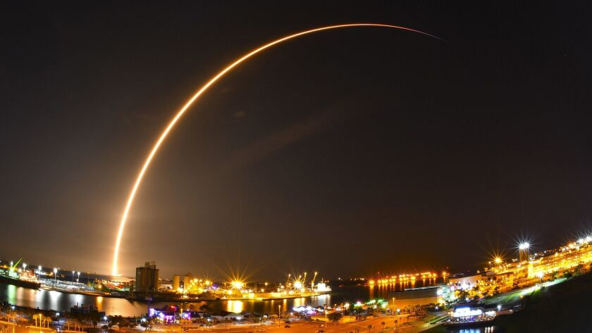 The early Sunday morning launch of the SpaceX Falcon 9 rocket carrying a Telstar 19v communications