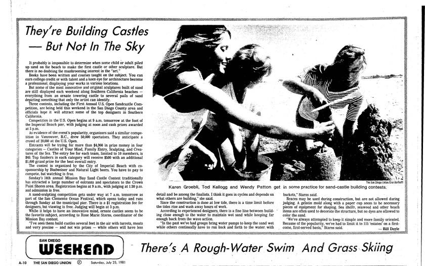 July 25, 1981 San Diego Union article on sandcastles.