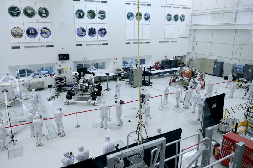 Reporters from around the world get a look at Mars 2020 mission rover at Jet Propulsion Laboratory
