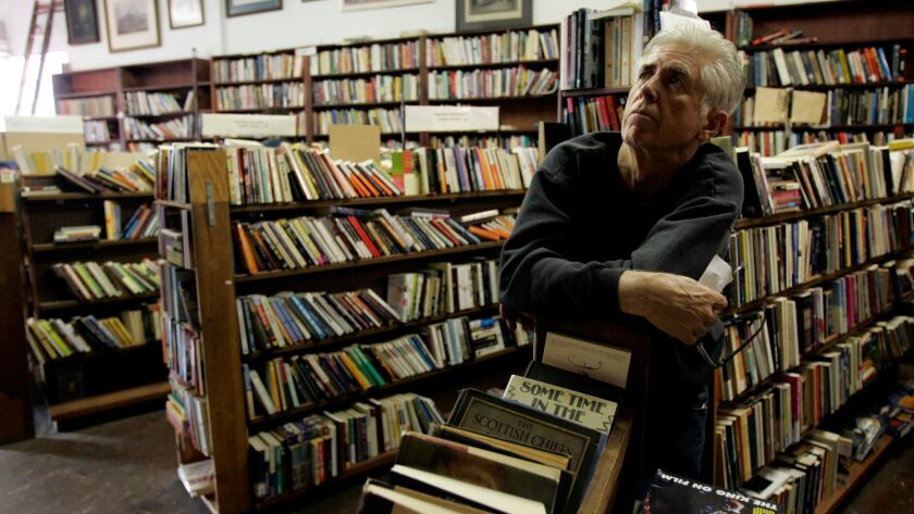 Dave Dutton at his bookstore in North Hollywood in 2006, shortly before its closure.