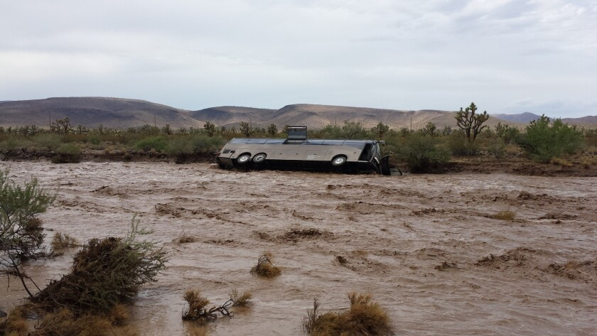 Flood tips bus in Arizona