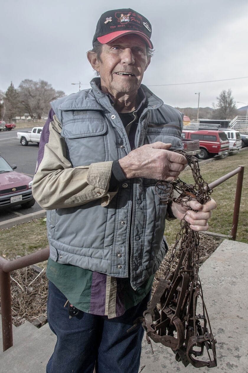 KLAMATH FALLS, OREGON MARCH 22, 2019 -- Fur trapper Tim Wion, 75, has a handful of old traps that h