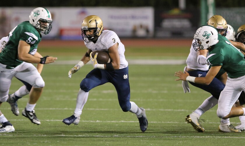 Mater Dei Catholic running back Aiden Calvert will carry the load for the Crusaders.