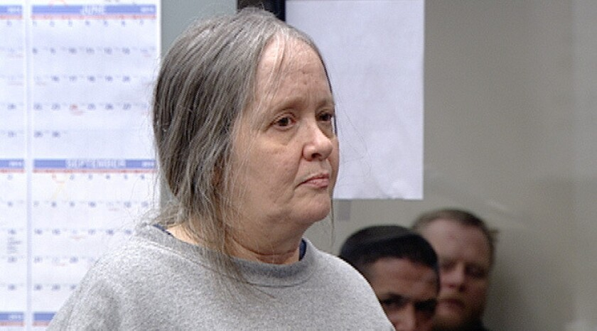 Judy Hayman at her arraignment in February in San Diego Superior Court on charges of being a fugitive from Michigan. Charges were dropped Friday.