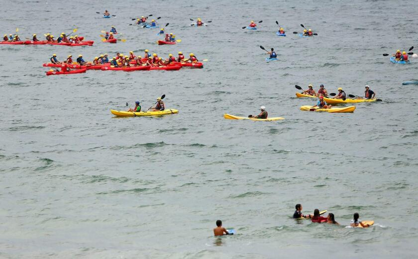 Kayakers took in the sights at La Jolla Shores beach during 2019 Labor Day weekend.