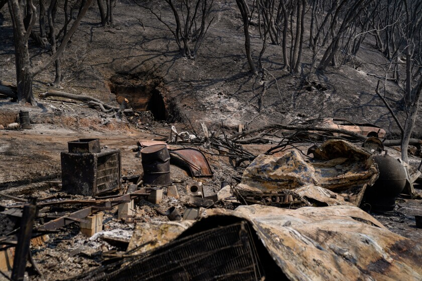 Wreckage from a property along California 128 in Napa County where the LNU Lightning Complex fire tore through last week.