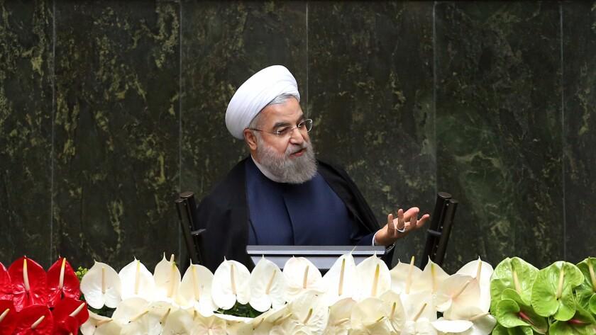 Iranian President Hassan Rouhani speaks May 28 in Tehran.