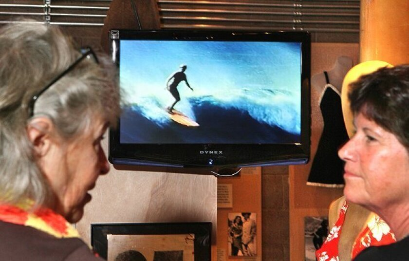 "A video of '60s and '70s female surf star Linda Bensonis shwon at the California Surf Museum's new exhibit, ""WOW,"" a look at the female influence on the sport."