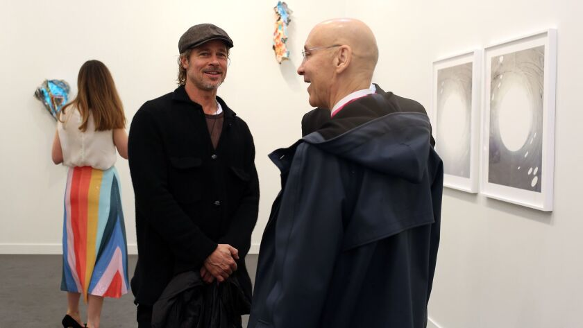 LOS ANGELES, CA-FEBRUARY 14, 2019: Actor Brad Pit hangs at Frieze Los Angeles, a contemporary art fa