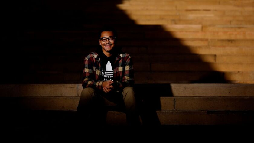 Miguel Claros Jr., 18, of Los Angeles, a first year undeclared student, on the campus of the University of California, Los Angeles.