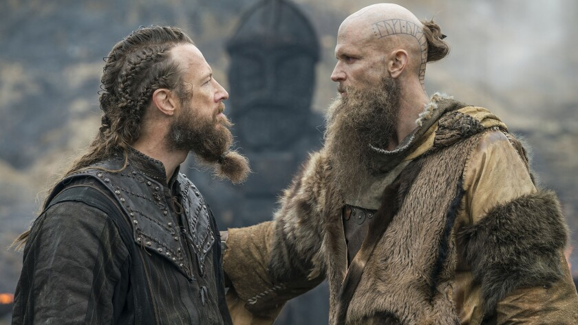 """Kris Holden Ried, left, and Gustaf Skarsgard in a new episode of """"Vikings"""" on History."""