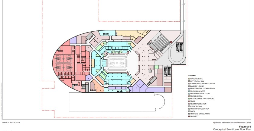 Conceptual floor plan for proposed Clippers arena in Inglewood.