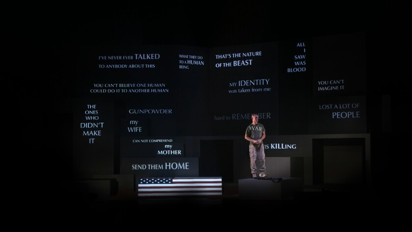 """""""Soldier Songs"""" combines rock-style opera songs, recordings, an actor/singer and multimedia projections."""