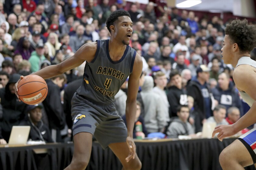 Rancho Christian's Evan Mobley competes in the Hoophall Classic in Springfield, Mass.
