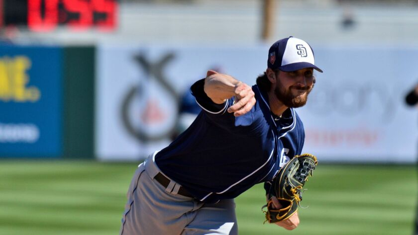 Padres pitcher Bryan Mitchell delivers in the second inning Sunday against the Angels.
