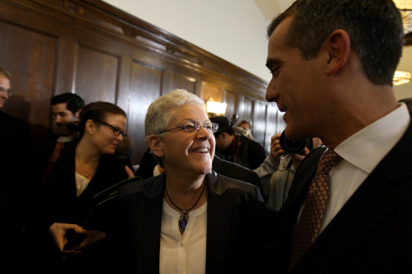 Los Angeles Mayor Eric Garcetti greets Environmental Protection Agency Administrator Gina McCarthy on Feb. 13 during a Los Angeles meeting of the climate task force appointed by President Obama.