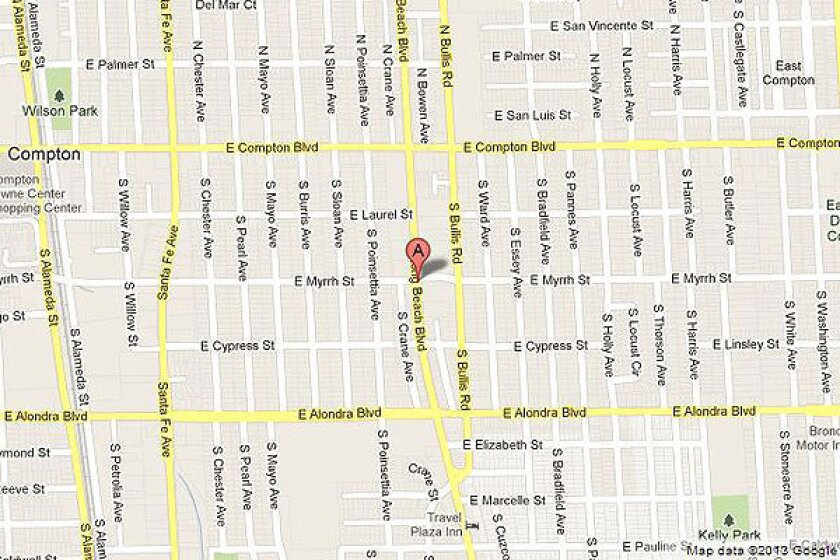 Map shows location of a shooting in Compton.