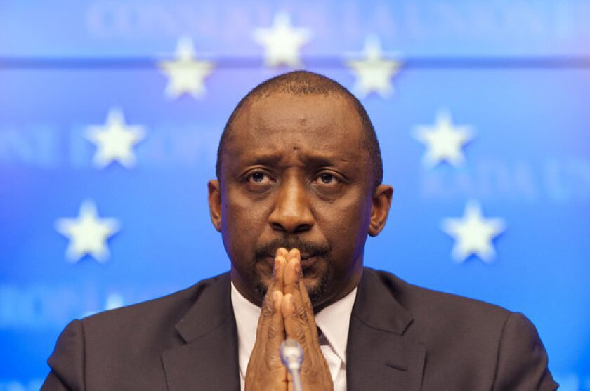 Malian Foreign Minister Tieman Coulibaly at a news conference after an emergency meeting of European Union foreign ministers in Brussels.