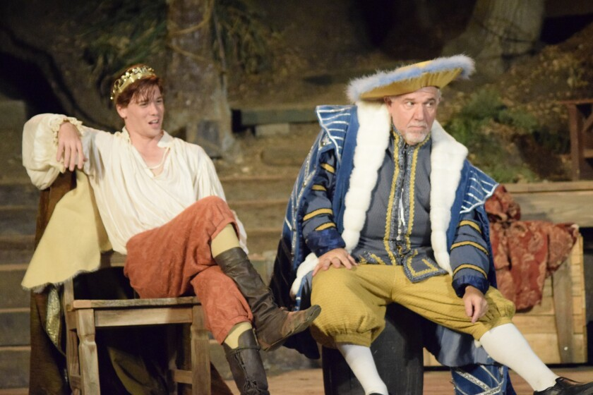 """King James I (Dane Oliver, left) and Secretary of State Robert Cecil (Alan Blumenfeld) watch a production of """"Macbeth"""" with mixed reactions in Bill Cain's """"Equivocation"""" at Will Geer's Theatricum Botanicum."""
