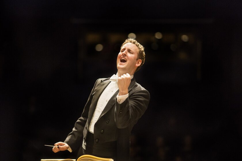 """Conductor Michael Francis, music director of Mainly Mozart Festival, conducted the San Diego Symphony on Friday in a program titled """"The Young Romantics,"""" part of the symphony's monthlong """"Hearing the Future"""" festival."""